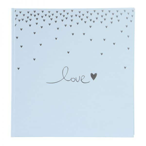 Trouwalbum Raining Hearts pastelblauw Goldbuch 08014